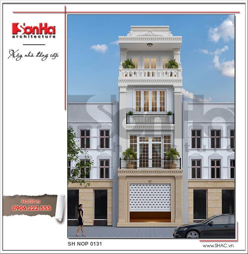 mẫu kiến trúc nhà phố kiểu pháp đẹp 60m2