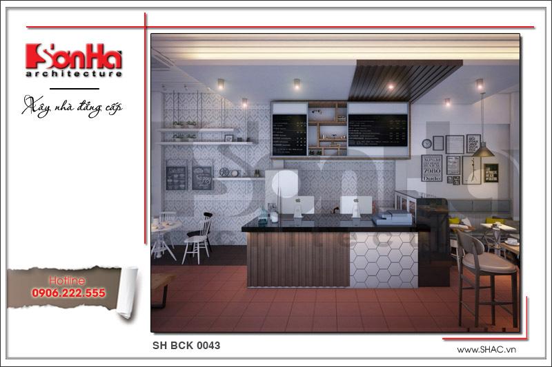 Thiết kế nội thất quán cafe 2 tầng đẹp