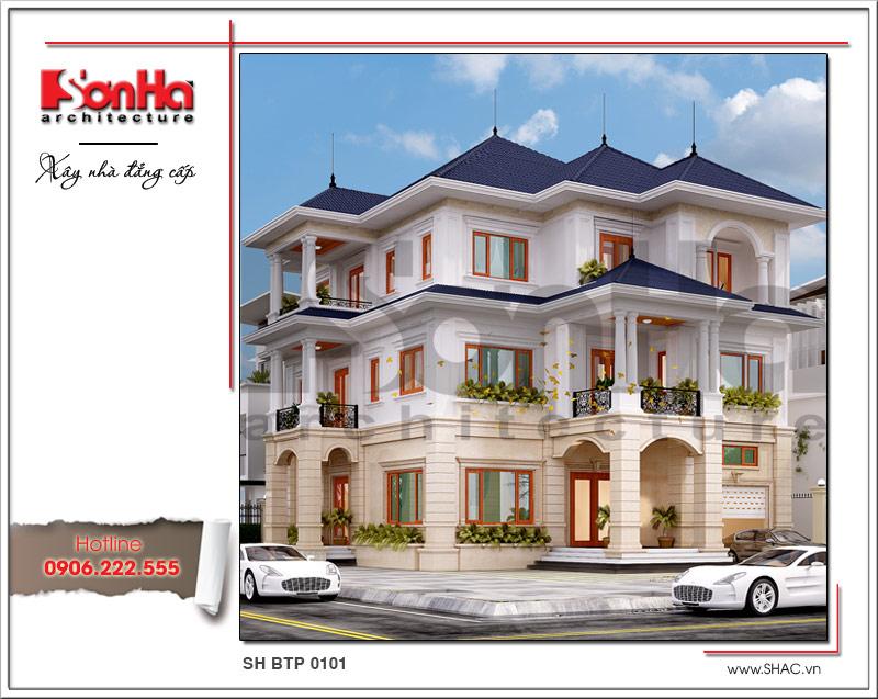 thiết kế nhà mái ngói 3 tầng kiến trúc đẹp