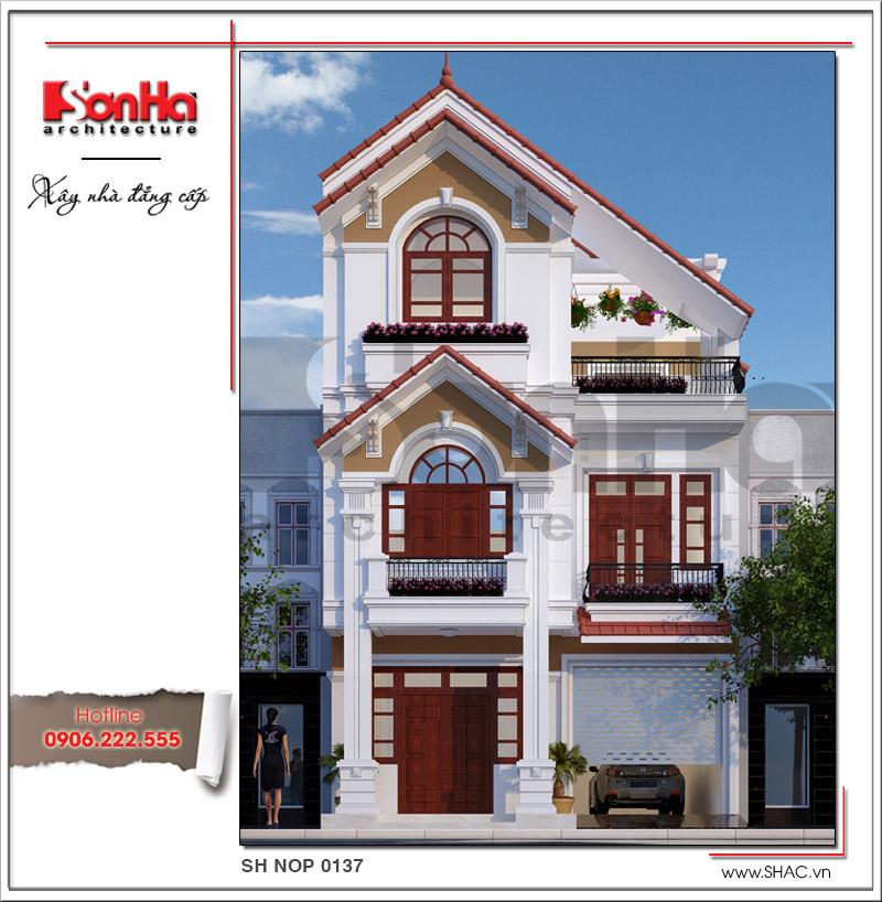 kiến trúc nhà mái ngói 3 tầng đẹp