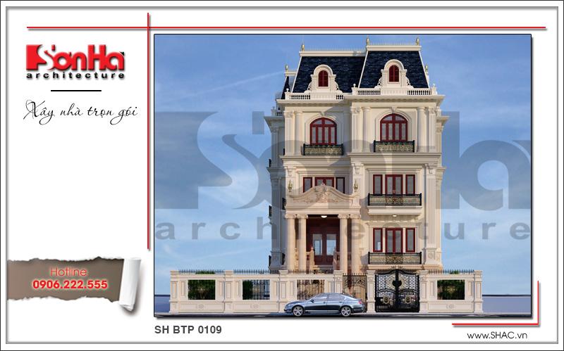 mẫu biệt thự phố đẹp 4 tầng kiểu cổ điển