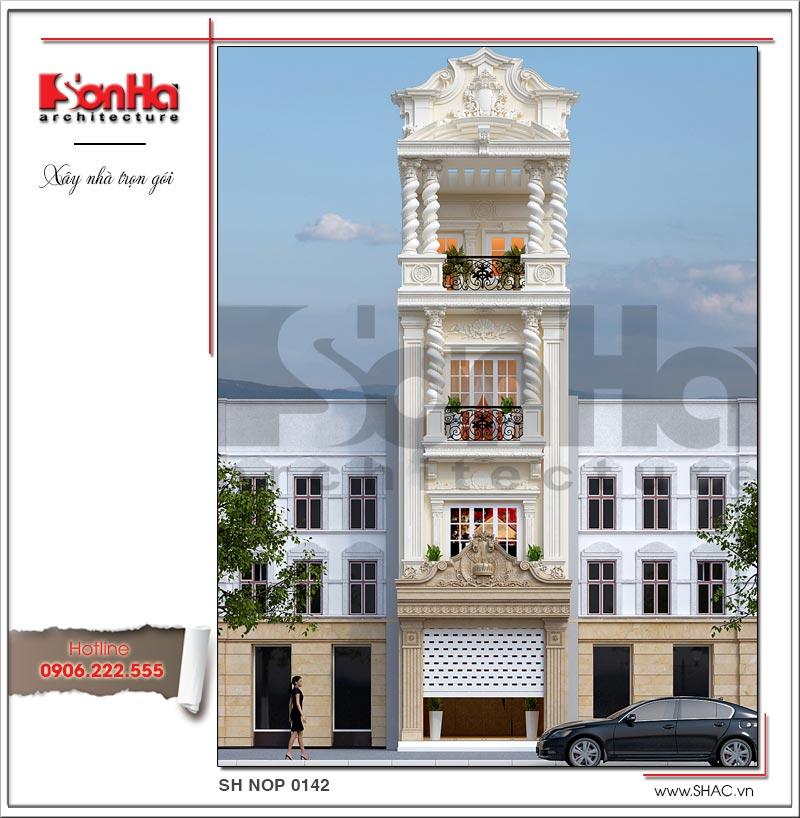 phối cảnh kiến trúc mặt tiền nhà phố kiểu pháp đẹp