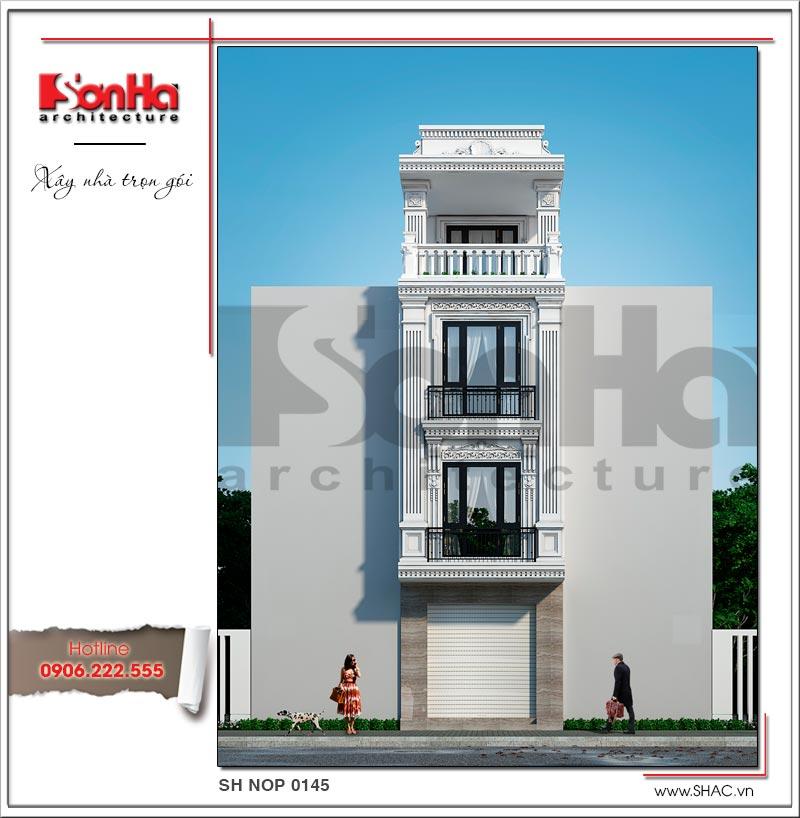 thiết kế kiến trúc nhà ống kiểu tân cổ điển 4 tầng đẹp
