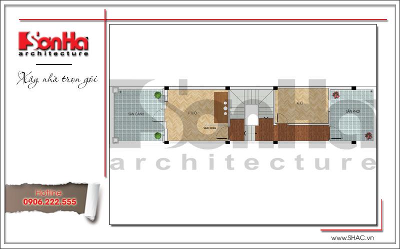 mặt bằng tầng 4 nhà ống tân cổ điển 3 phòng ngủ