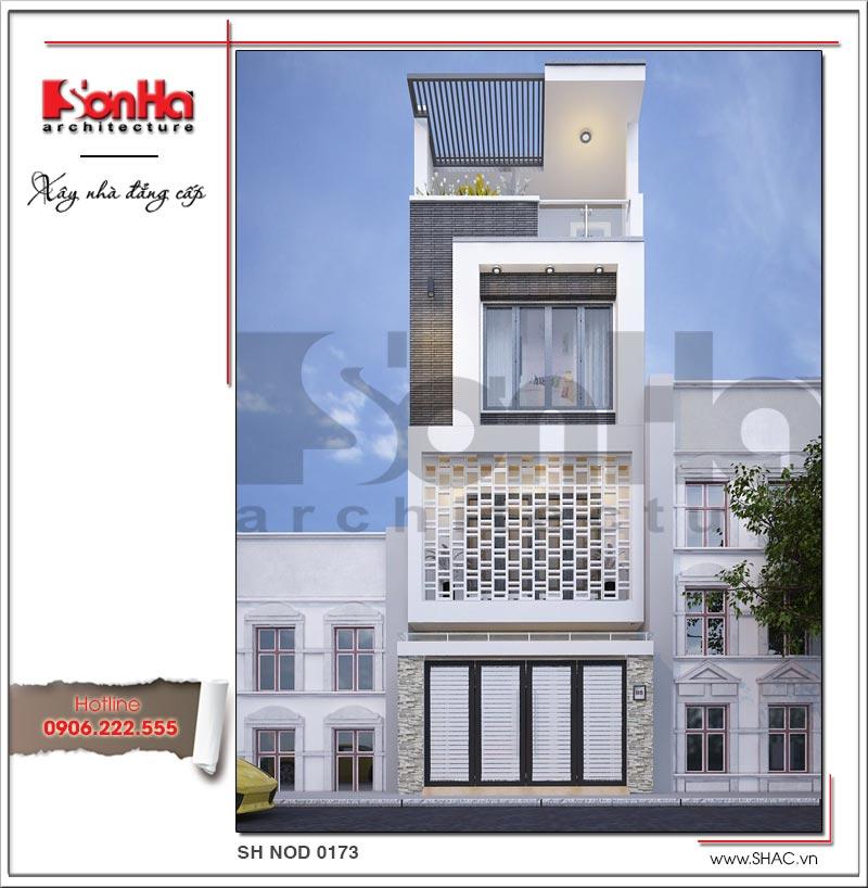 kiến trúc nhà đẹp 60m2 4 tầng sang trọng