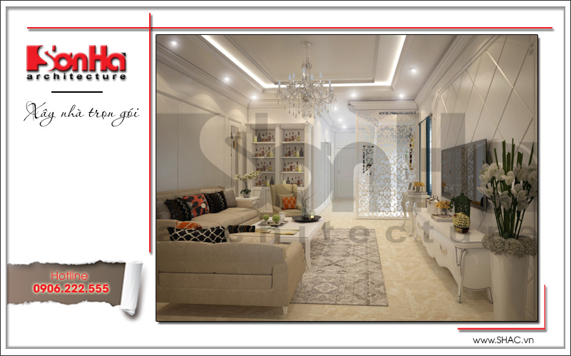 nội thất phòng khách đơn giản kiểu tân cổ điển