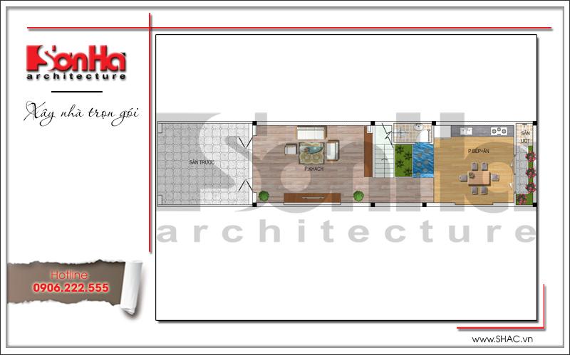 bản vẽ công năng tầng 1 thiết kế nhà 6x20m đẹp