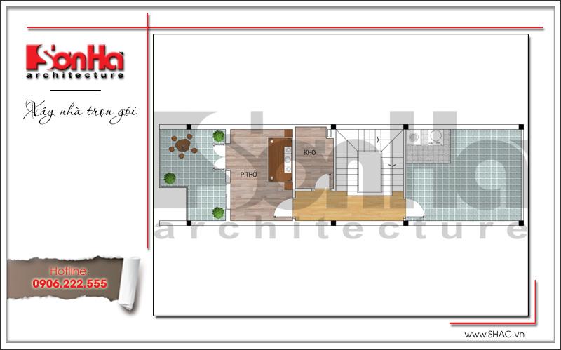 bản vẽ  tầng 4 của thiết kế nhà 6x20m