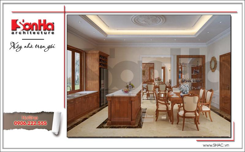 thiết kế phòng ăn bằng gỗ đẹp chất lượng