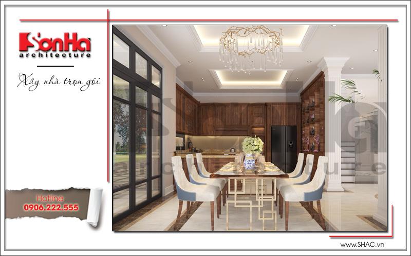 thiết kế mẫu phòng ăn bằng gỗ cao cấp đẹp của sơn hà